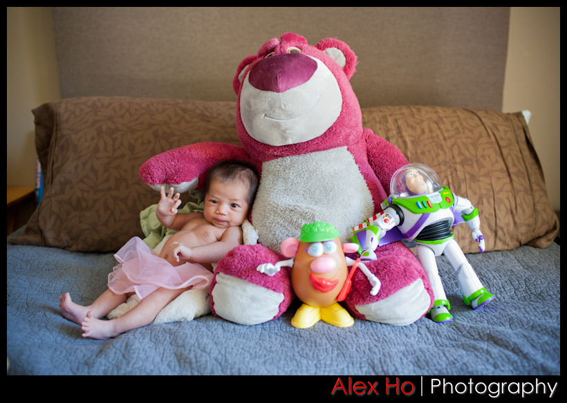 newborn pics with lotso buzz lightyear