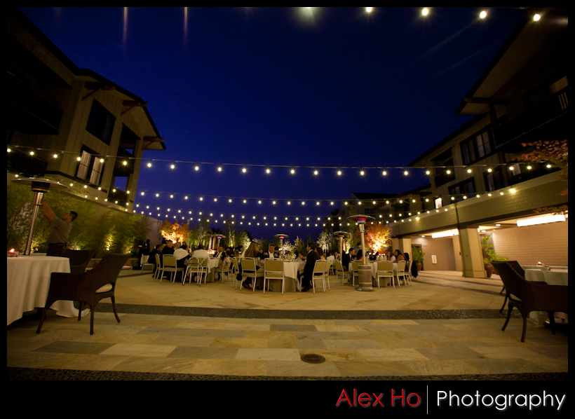 westin hotel evening patio wedding