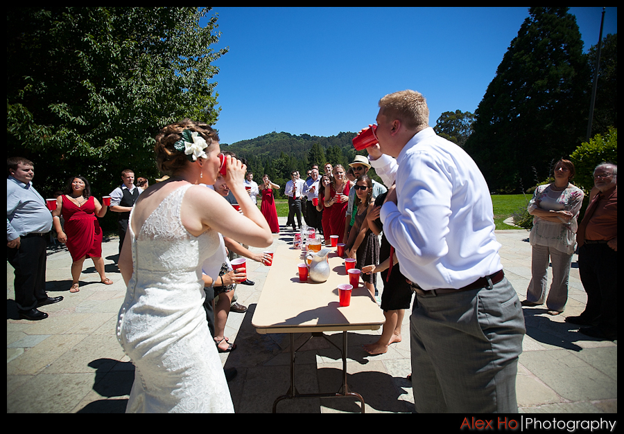 wedding reception flipcup bride groom