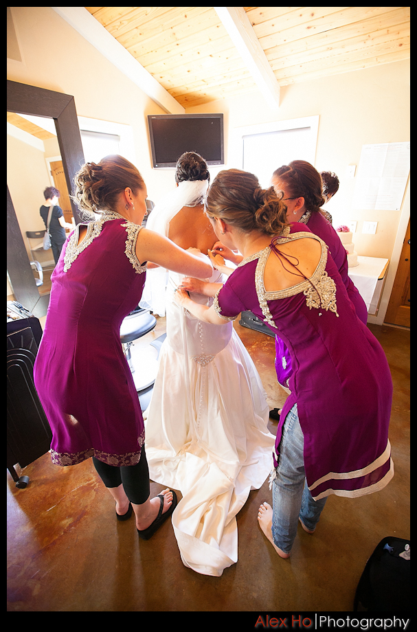 bella montagna bride getting ready wedding dress