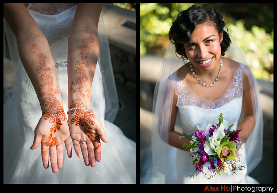 piedmont park oakland wedding bride bouquet henna
