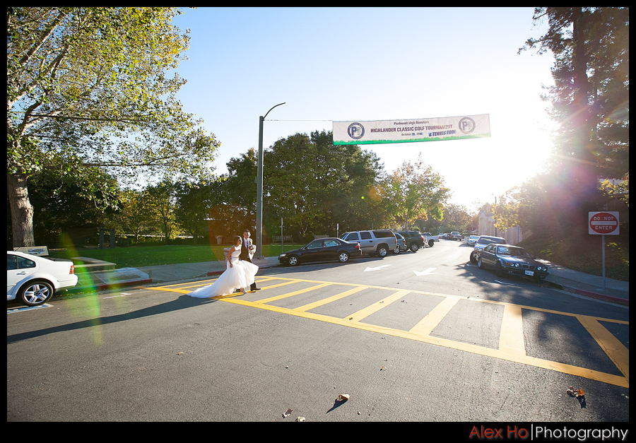 piedmont oakland crosswalk bride groom