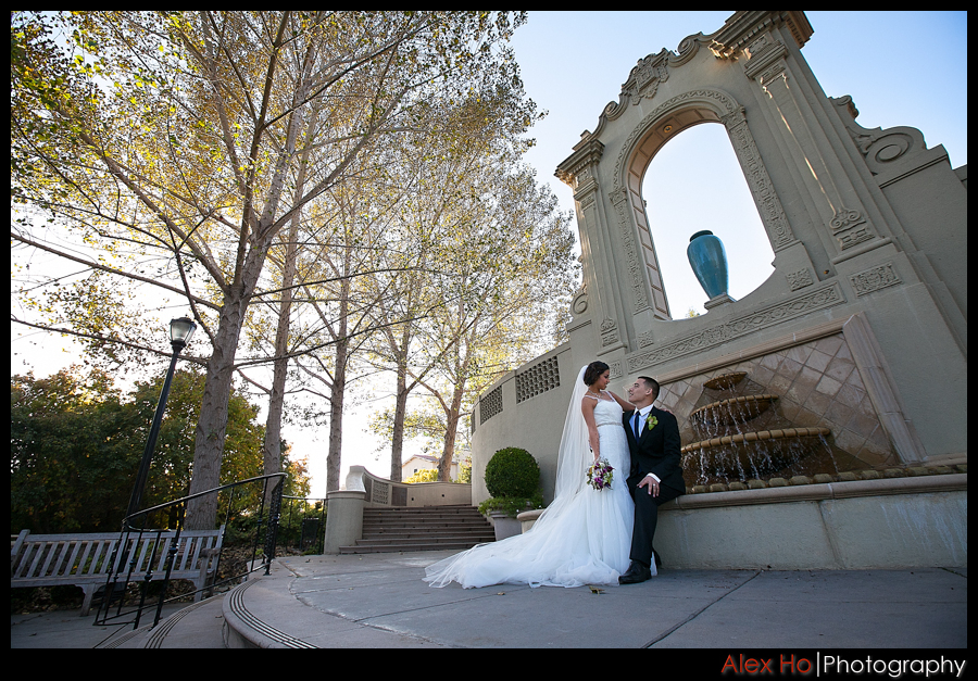 piedmont park oakland wedding bride groom fountain