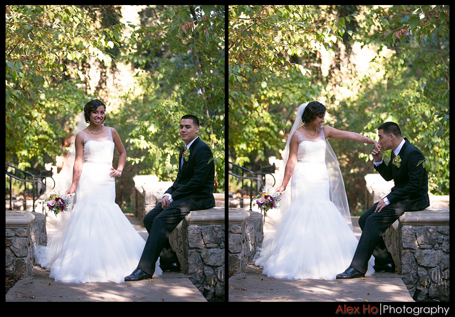 piedmont park oakland wedding bride groom pose kiss