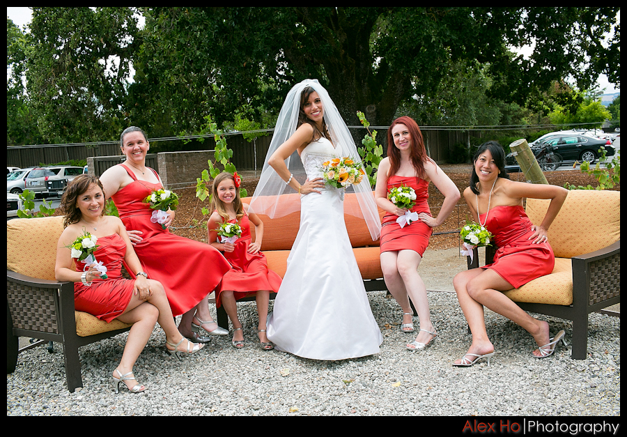 bridal party bridesmaids sonoma lodge wedding