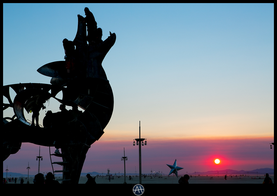 burning man sunrise wolf