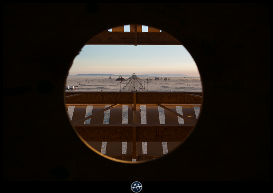 burning man view of the temple