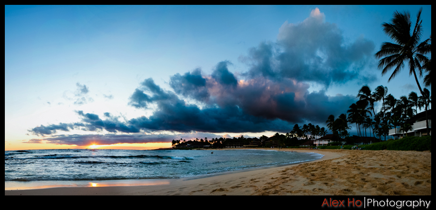 kauai beach sunset panorama