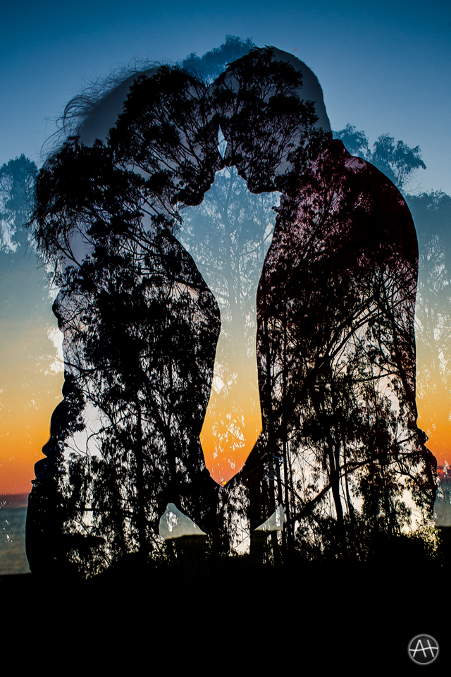 sf sunset multiple exposure engagement session