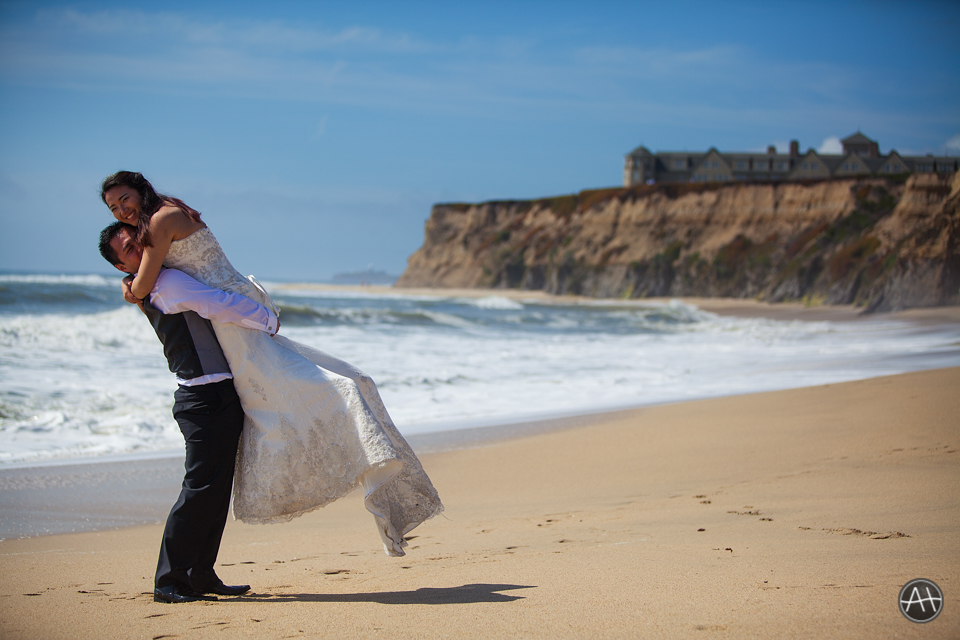 beachside half moon bay golf course wedding