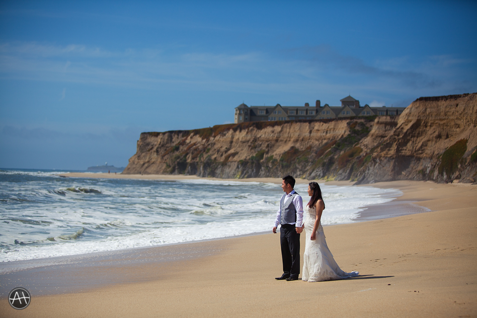 half moon bay wedding couple