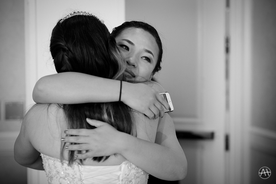 bride maid of honor emotional hug