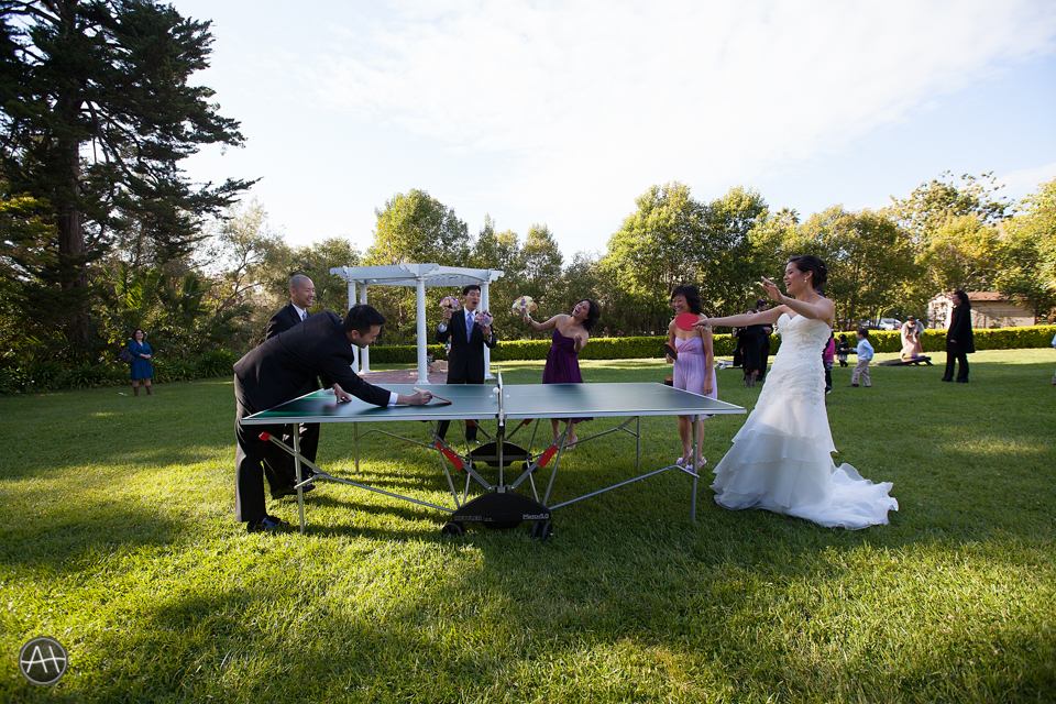 ping pong outdoor reception wedding