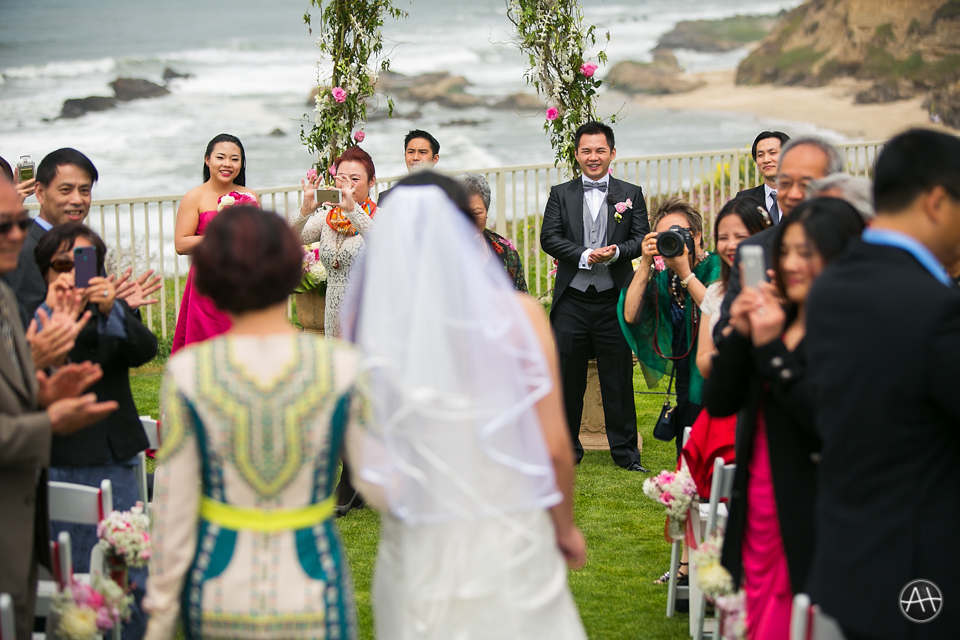 ritz carlton half moon bay wedding ceremony altar