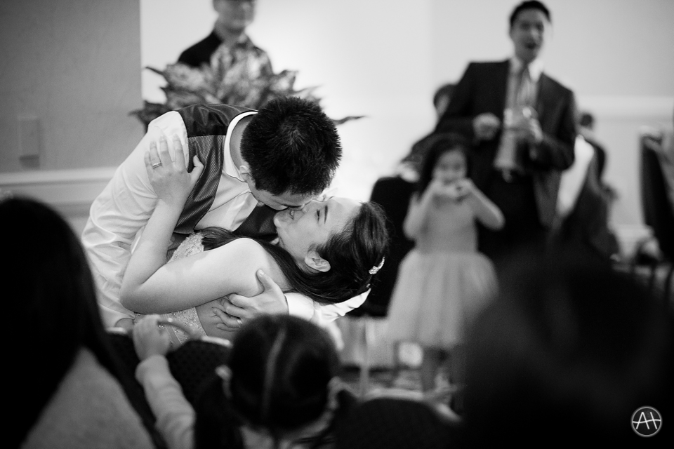 surprise dip kiss wedding reception