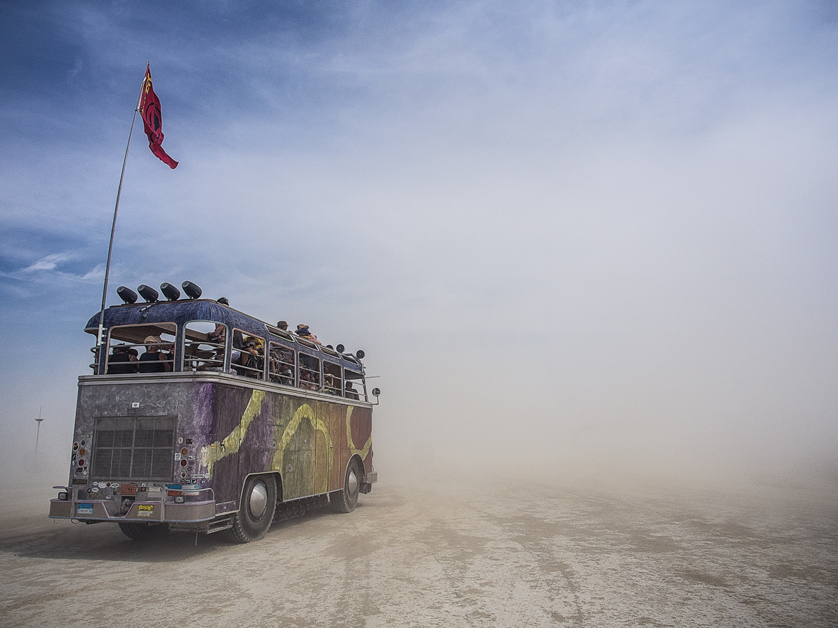 burning man vw bus