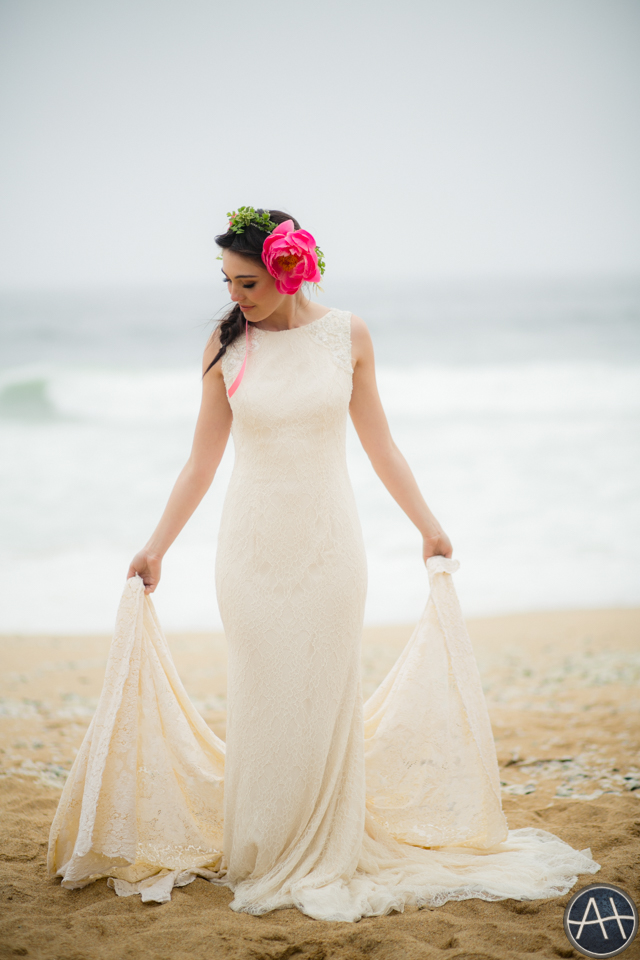 beach photoshoot wedding dress