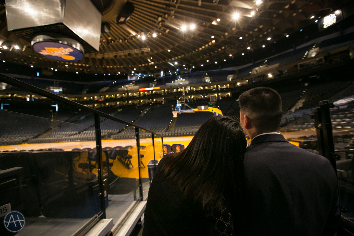 engagement session photos warriors stadium oakland empty oracle arena