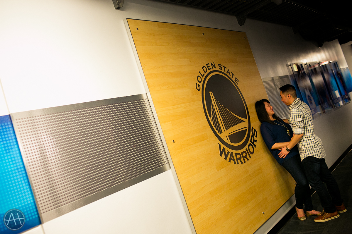 engagement session photos warriors stadium oakland oracle arena hallway