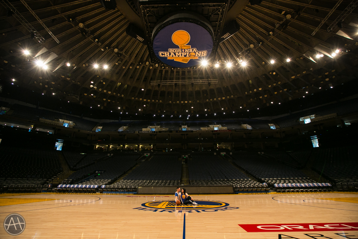 engagement photoshoot warriors stadium oakland oracle arena